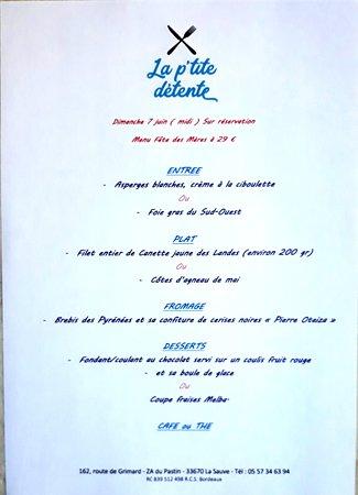 """Menu spécial """" Fête des Mères """""""