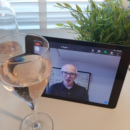 Simon (the owner of the wine school) delivering a brilliant tasting via Zoom