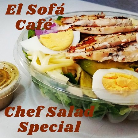 AMAZING, fresh, crispy Chef Salad, comes with whole wheat toast and home made dressing on the side. Call your order ahead for pick up or we deliver 5 block radius from the café. 223-8446