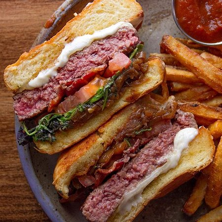 Pinch burger with fries