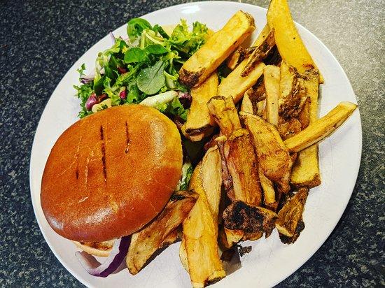 Burger with stilton, Chunky chips. Salad