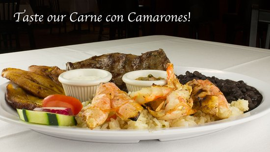 Our amazing Carne con Camarones is plenty for 2!