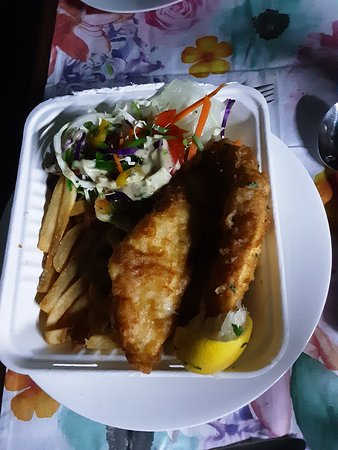 Takeaway   Fish and chips with salad  .. Delicious