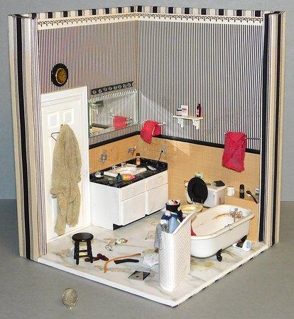 Messy boys' bathroom by Dorothy Lindstaedt