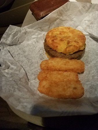 Mustang, OK: Jalapeno Sausage Biscuit and tots