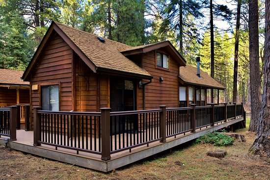 Spruce Cabin is one of our five riverfront cabins; offering a magnificent view of the Metolius River and our private footbridge from it's spacious, covered deck. The rolling front lawn features your campfire pit, log benches and is an ideal setting for family picnics and fetch with the dog. After a full day of play, enjoy a family meal prepared in the fully-equipped kitchen, retire with a glass of wine by the fire, then drift off to sleep in one of our comfy beds.