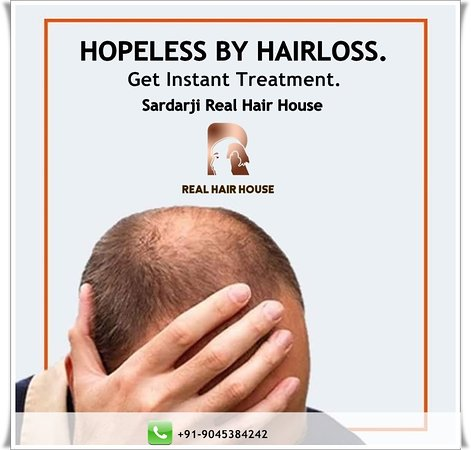 "Realhairhouse:- Stressed With Hair Loss? Stop Getting Bald Right Now ! Get Your Natural Hair Back With Realhairhouse. ""SAY GOODBYE To BALDNESS"" Sardarji Real Hair House Contact Us: +91-9045384242 , + 91-7906348470 Website: 🌐 www.realhairhouse.com/hair-patch-in-delhi/ #frontline #hairpiece #toppiece #naturalresults #hairsolutions #hairlosssolution #ManWeave #wigs #hairrestoration #HairLoss"