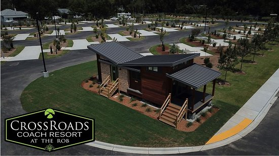 Our office is a welcome sight at the entrance to CrossRoads Coach Resort.