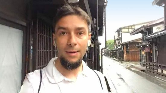 Takayama downtown online tour with expert guide: Luca in historical street of Takayama, Japan June 2020