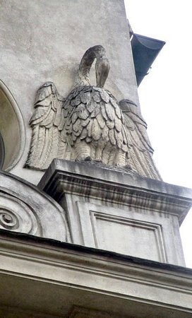 Details of the decoration showing a pelican, the heraldic symbol of the Santacroce and a Christian symbol of the Passion of Jesus Christ.