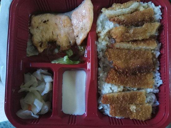 salmon +  teriyaki chicken