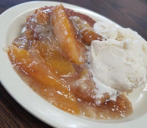 Peach Cobbler & Vanilla ice cream