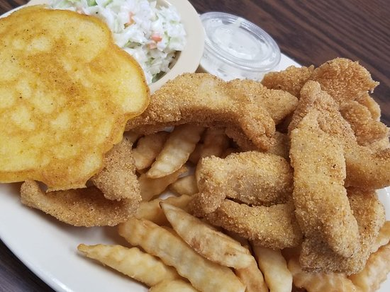 Fish FRY-day special! Fried cafish strips, fries, slaw, and cornbread.