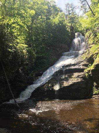 short boardwalk to a pretty waterfall