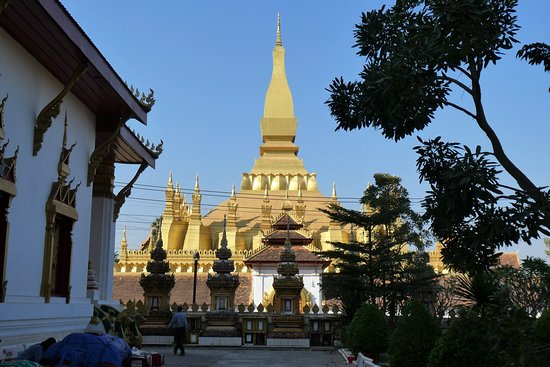 Our first look at the Great Stupa was from the grounds of this temple complex and it proved a definite WOW factor.
