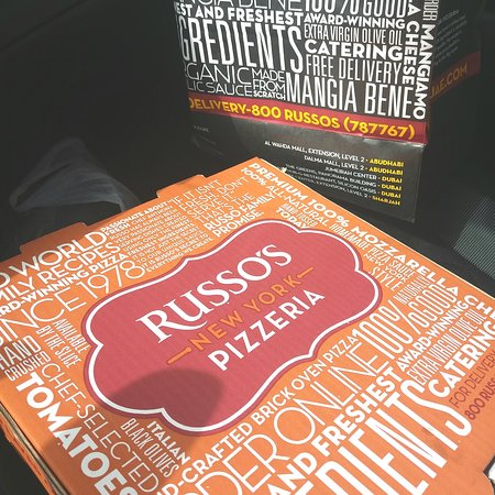 Russo's New York Pizzeria take-away pizza box and bag.
