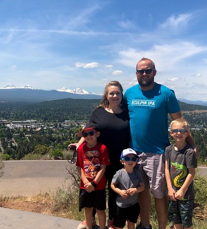 The family in front of Mt. Bachelor and the Three Sister mountains.