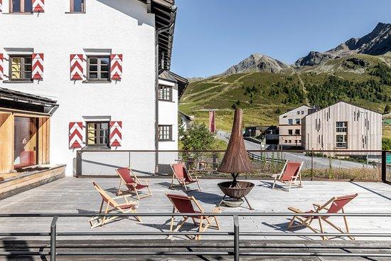 Kühtai, Österreich: Terrasse des Jagdschlosses