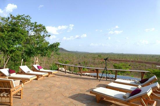 Pendjari National Park, Benin: Our main terrace overlooking the infinity pool