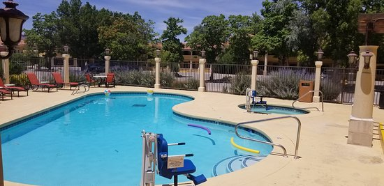 We offer a beautiful pool area in a quiet and relaxing area on our park like grounds.