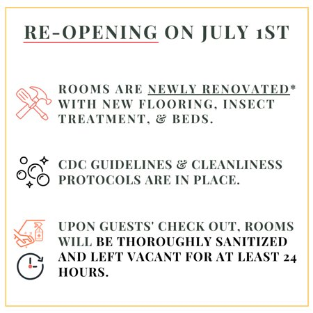 Newly renovated and reopening on July 1st, 2020! Officers open from 7:30AM to 10:00PM. We will be following the CDC guidelines and protocols.