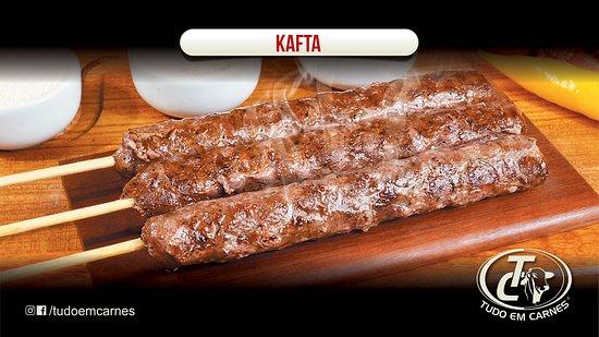 São Paulo, SP: A kafta é preparada com carne moída, cebola, salsinha, sal e pimenta síria e especiarias , uma delicia que quem pede, repete!!!- Contem Glúten .