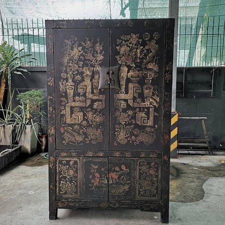 Shanxi Art Antique Cabinet. Flower Paint.