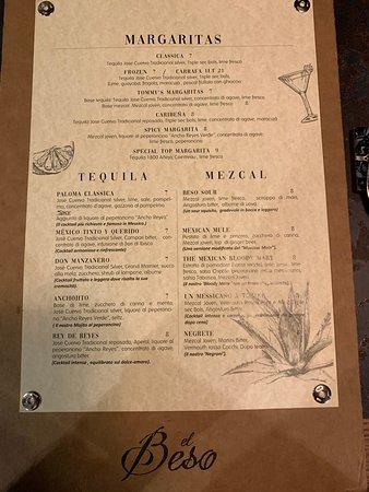 El Beso - Drink List - cocktails con proposte tradizionali cole il margarita (ottimo) ed altri cocktails a base di tequila e mezcal