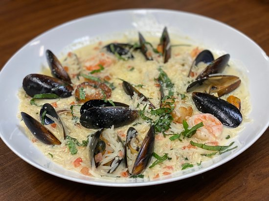 Seafood Risotto. Scallops, shrimp and mussels. Father's Day Special.