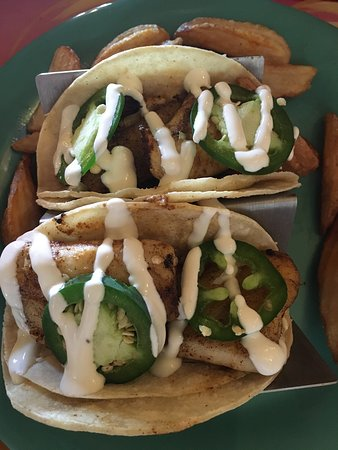 Fish tacos with mild jalapenos.