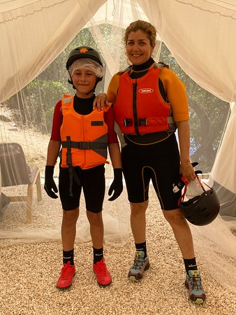 Ready for the Hike & Swim Activity. Exhilarating.