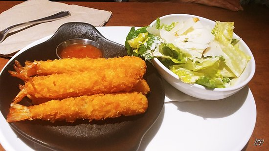 Nobashi prawns with Ceasar salad