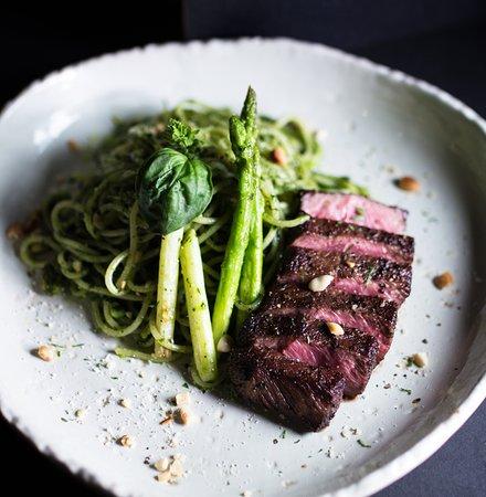 Beef pesto pasta