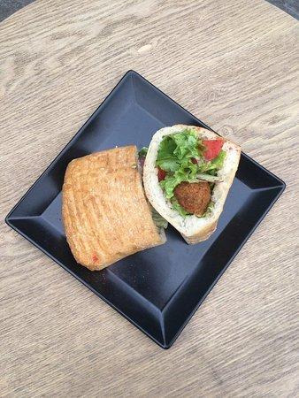 Ciabatta with falafel in Sympatia Bar