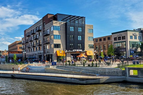 Our restaurant and brewery is nestled right on the Fox River, just off Main St.