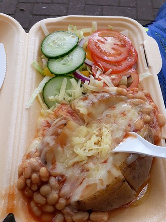 Jacket with beans, cheese and salad (£3) + Tea (£1) is the usual for me.
