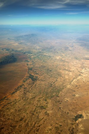 United Airlines: UA2256 Houston (IAH) to Phoenix (PHX) 737-900 (#3821) FC Seat 4F - Mid-flight over West Texas, New Mexico and Eastern Arizona