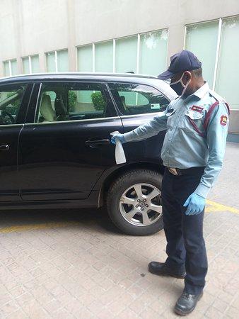Sanitizing the car door handles