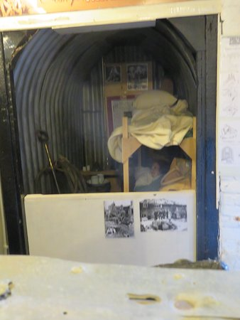 Anderson Shelter mock-up; providing protection from German bombers during WW2.