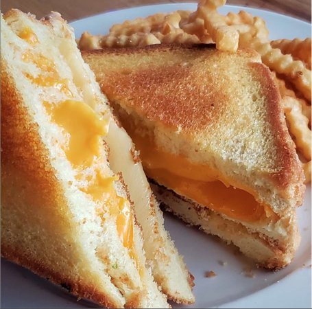 Triple Decker Grilled Cheese 3 slices of #texastoast, #cheddar, American & Mozzarella #cheese.