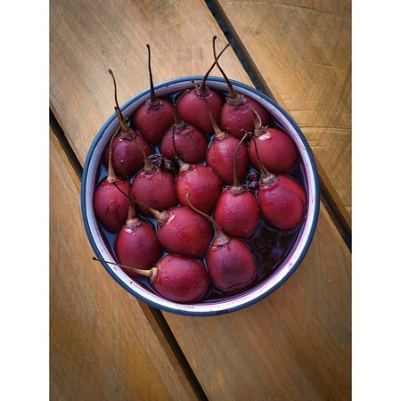 Mulled wine tamarillos that are served with our vegan coconut cacao mousse