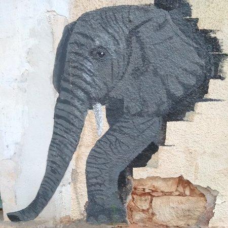 Chania Town, Greece: Ένας γλυκύτατος όσο και επιβλητικός ελέφαντας ζωντανεύει έναν ταλαιπωρημένο τοίχο σπιτιού στην οδό Σφακίων, στο κέντρο της πόλης.