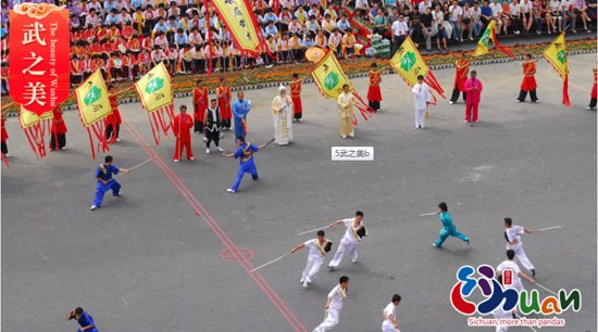 Emeishan, China: Emei Wushu is a general term of Wushu that originated in the Emei Mount region and is spread widely throughout Sichuan and even the southwest region. Emei Wushu which is originated in Mount Emei has a history of nearly 3,000 years with more than 80 schools and thousands of styles and kinds. It is one of the three major schools of Chinese Wushu. (Photo by Chen Xianmin)