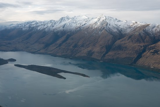 Milford Sound Scenic Flyover ex Queenstown: Pigeon and Pig Island on Lake Wakatipu.
