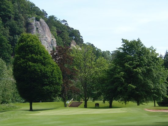 13th green with river Severn on left and high rock
