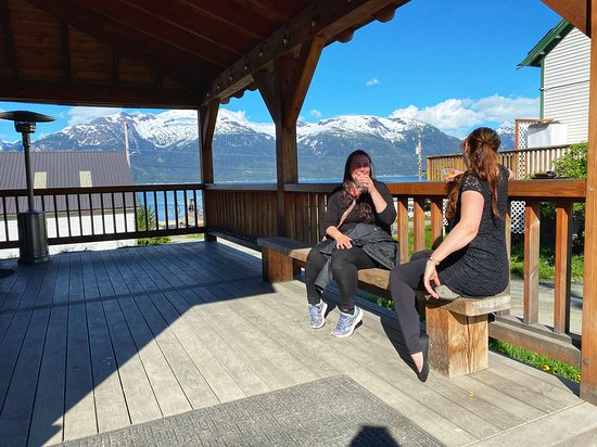 Haines, AK: Our customers enjoying cocktails in the sunshine.