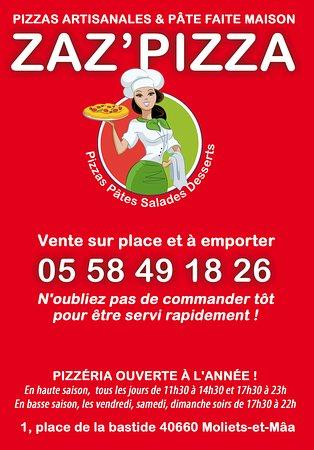 Le flyer avec le numéro pour commander vos pizzas.