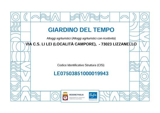 CIS (Codice Identificativo Struttura Regione Puglia) LE07503851000019943