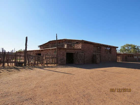 Ganado, AZ: Another view of the 2 storey barn and part of the stockyard