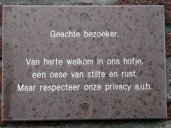 Cornelia Quackshofje: regulation for the visitor